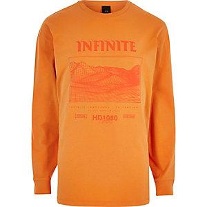 T-shirt à imprimé « Infinite » orange à manches longues