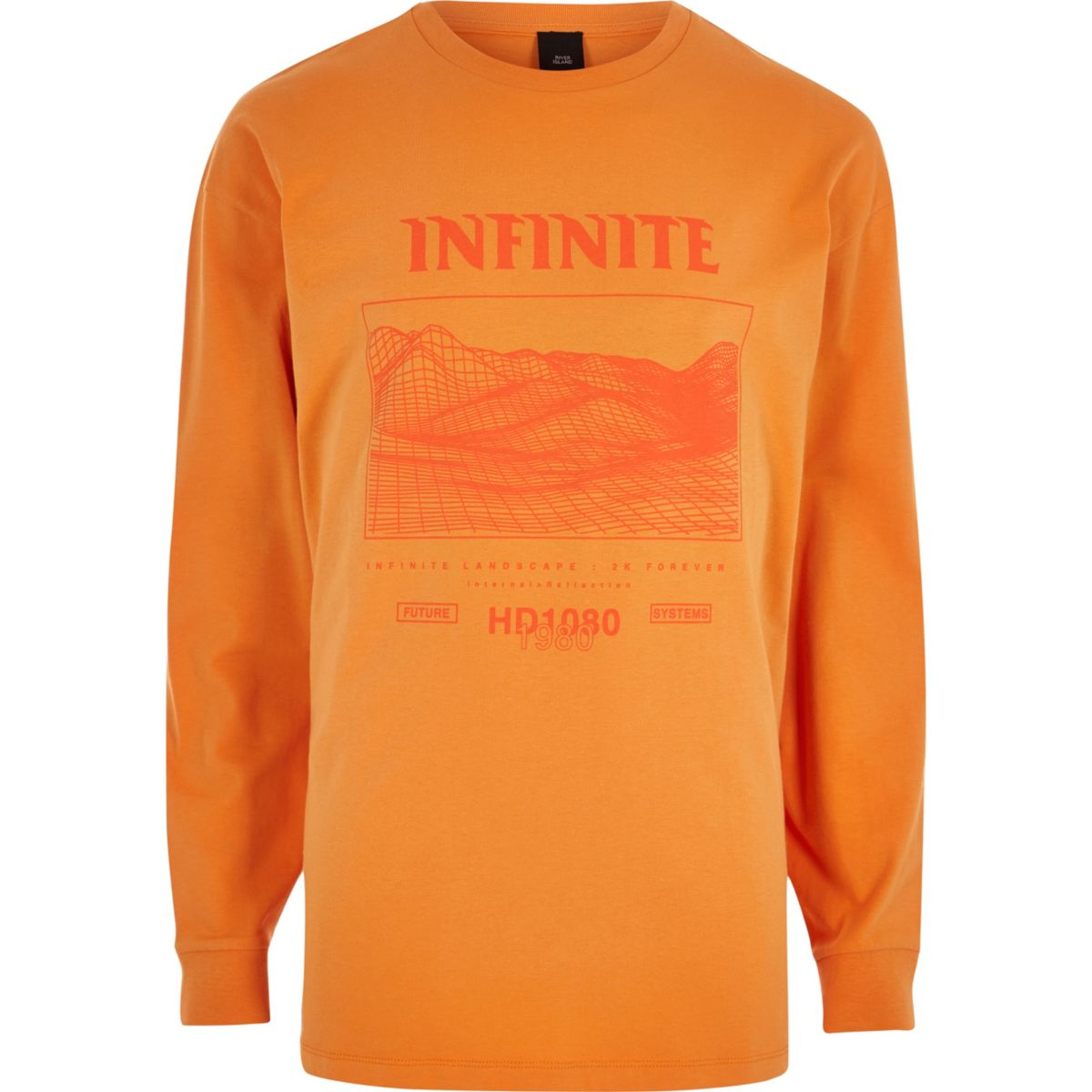 Orange 'infinite' print long sleeve T-shirt