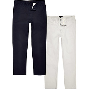 Navy and stone chinos multipack