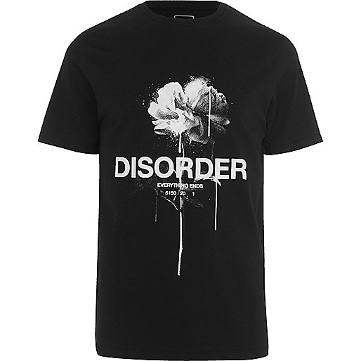 Black 'disorder' rose print slim fit T-shirt