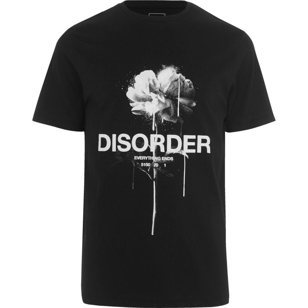 T-shirt ajusté noir à imprimé rose «Disorder»