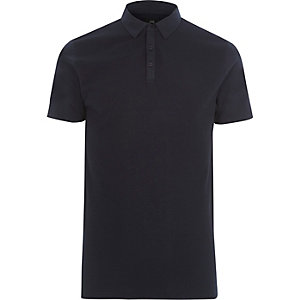 Navy waffle slim fit polo shirt