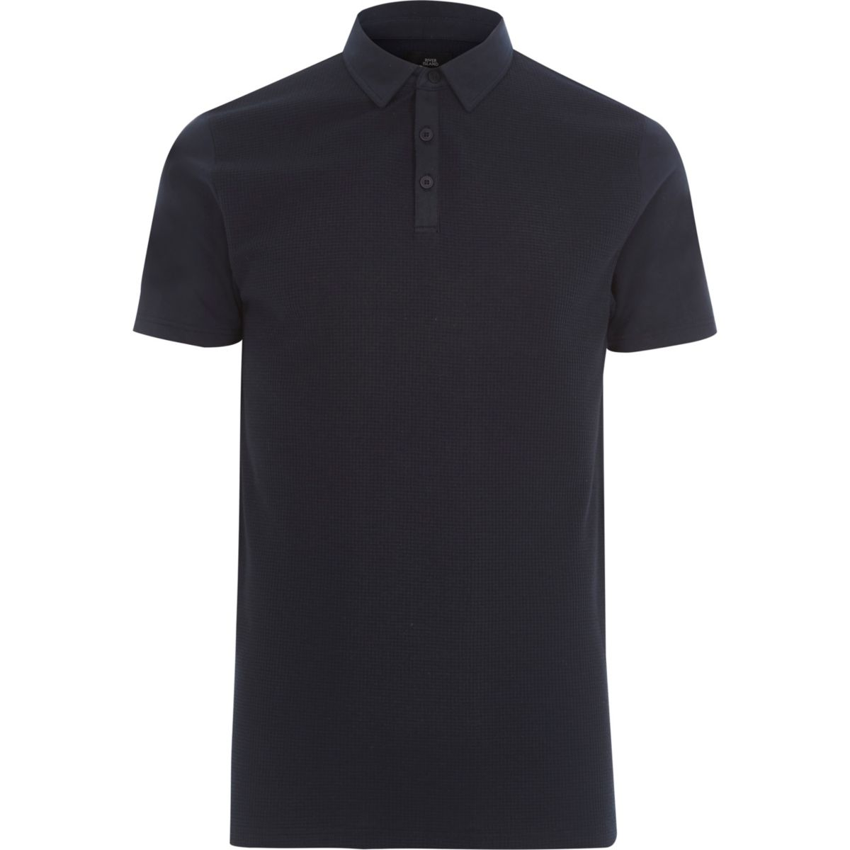 Navy waffle slim fit polo shirt