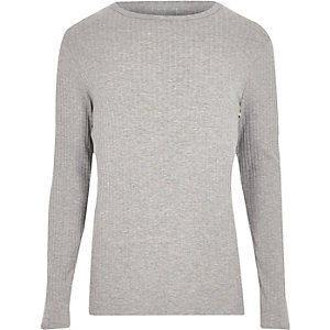 Grey ribbed slim fit long sleeveT-shirt