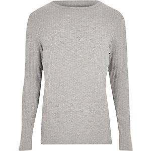 Grijs geribbeld slim-fit T-shirt met lange mouwen