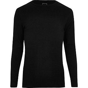 T-shirt noir côtelé cintré à manches longues