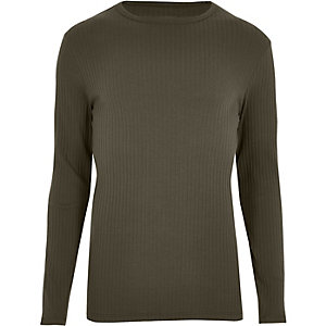 Khaki green ribbed long sleeve T-shirt