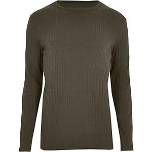 Kakigroen geribbeld T-shirt met lange mouwen