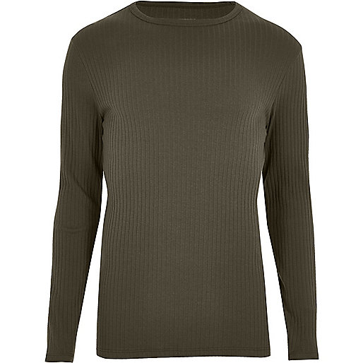 Khaki green ribbed long sleeve T-shirt
