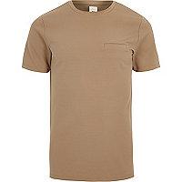 Camel slim fit chest pocket T-shirt