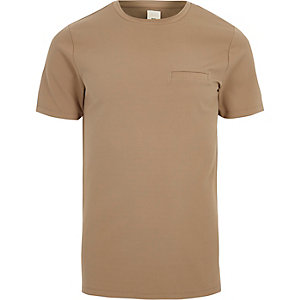 Camel slim fit chest pocket T-shirt