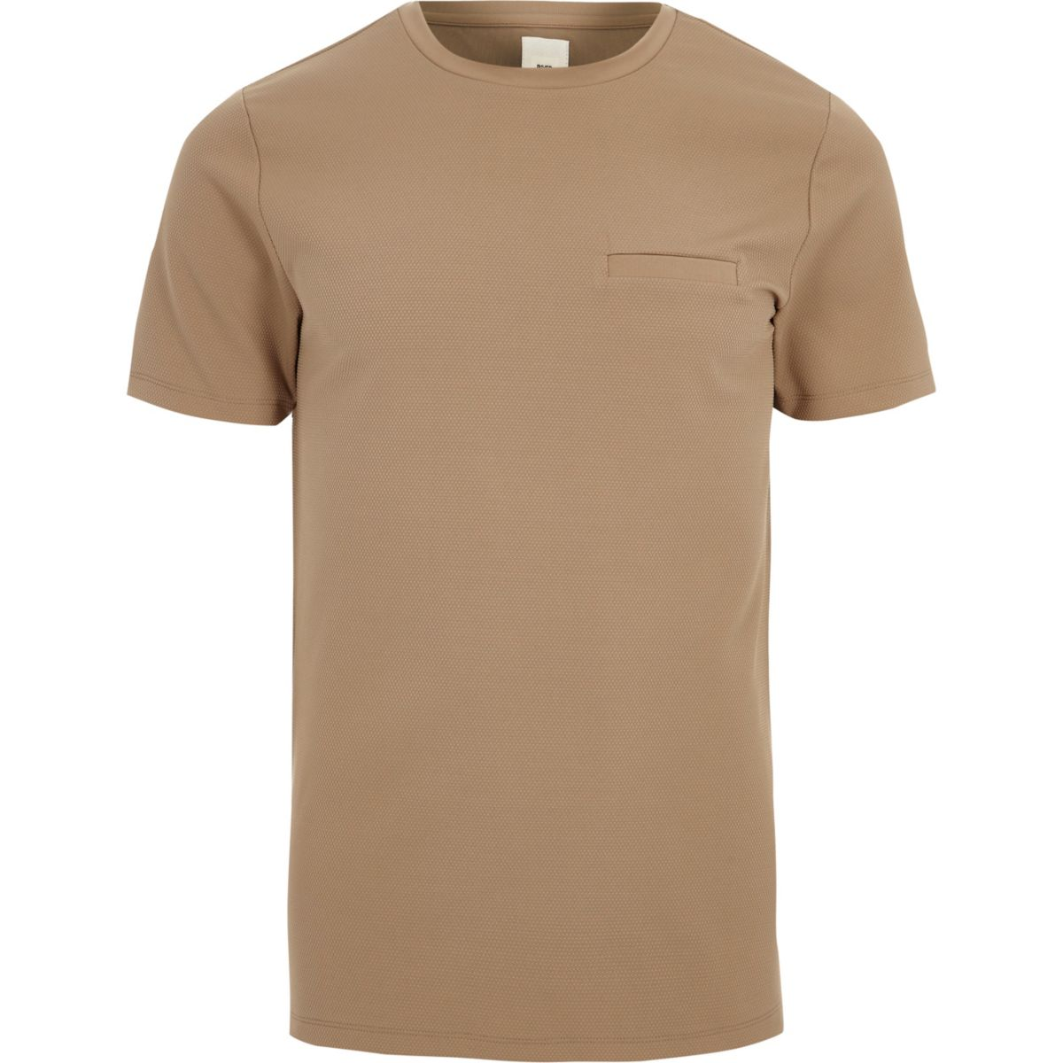 T-shirt slim marron clair à poche poitrine