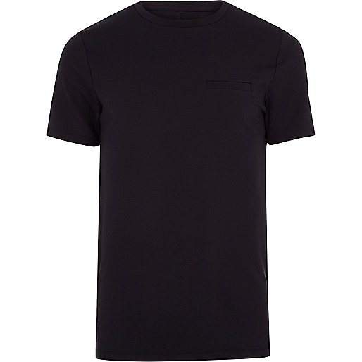 Navy slim fit chest pocket T-shirt