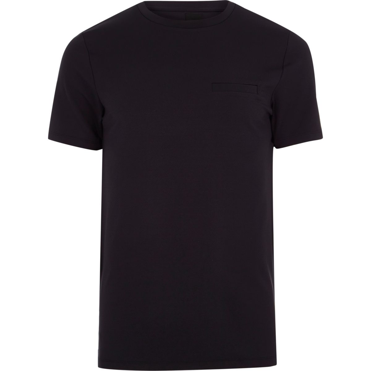 Navy slim fit chest pocket T-shirt