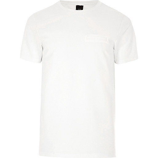 Cream chest pocket slim fit T-shirt