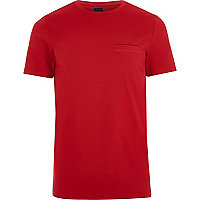 Red textured crew neck slim fit T-shirt