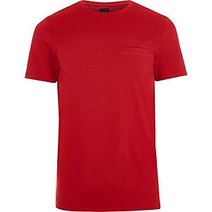 T-shirt slim rouge texturé à col ras-du-cou