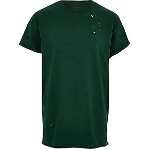 T-shirt vert large à effet usé
