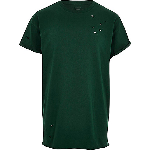 Green distressed slouch T-shirt