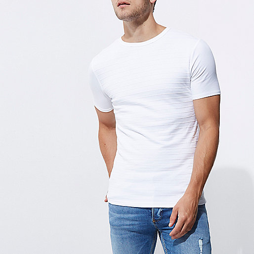 White textured muscle fit crew neck T-shirt