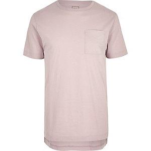 Pink crew neck stepped hem longline T-shirt