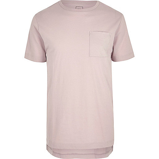 Pink crew neck stepped hem longline T-shirt
