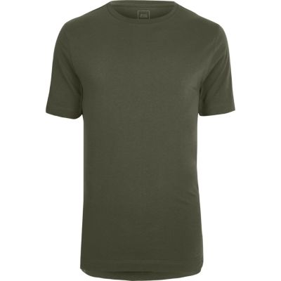 Kakigroen lang T-shirt met ronde hals en ongelijke zoom