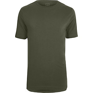 Khaki green stepped hem longline T-shirt
