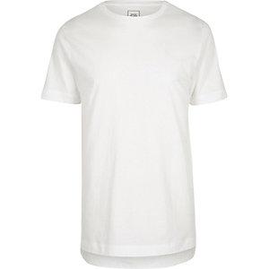 T-shirt long ras-du-cou blanc à ourlet asymétrique