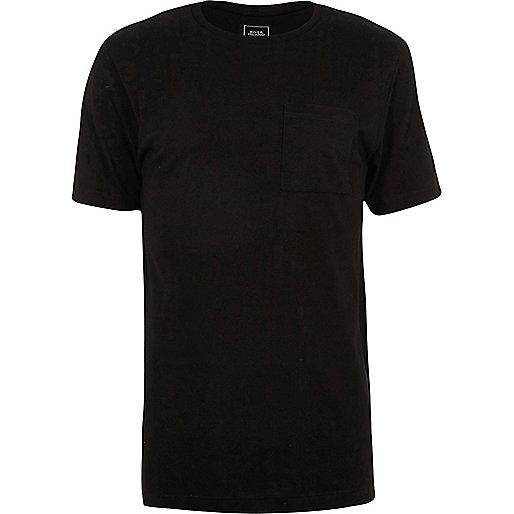 Black crew neck stepped hem longline T-shirt