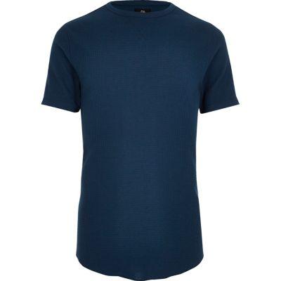 Marineblauwe slim-fit T-shirt met ronde hals en wafeldessin