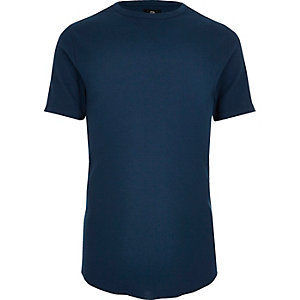Navy waffle crew neck slim fit T-shirt