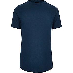 T-shirt slim ras-du-cou bleu marine gaufré