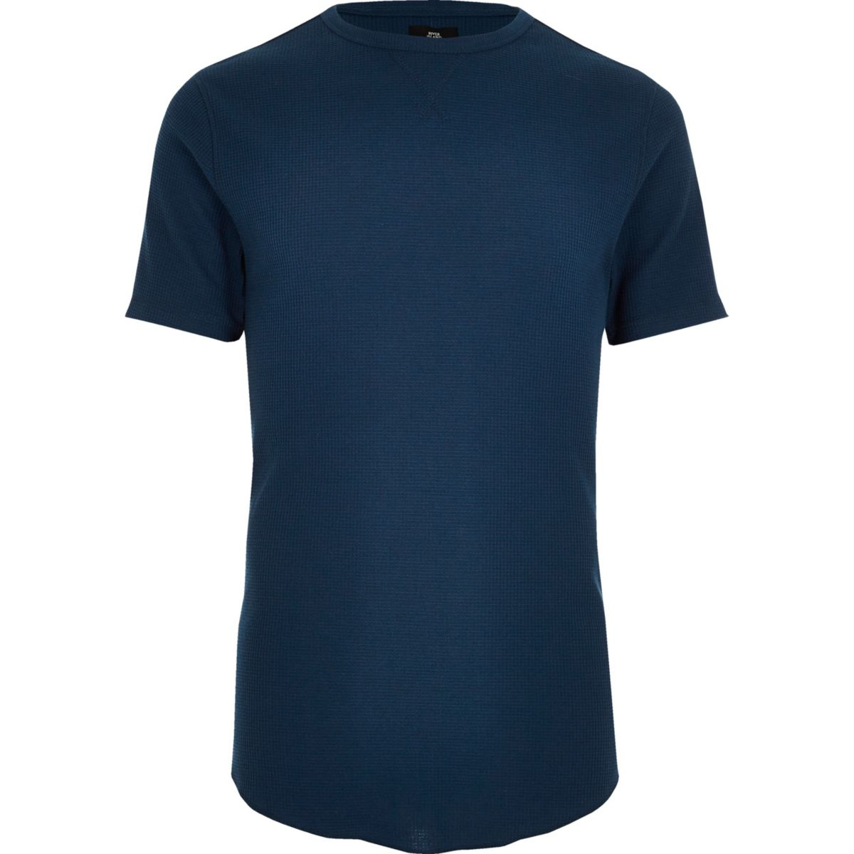 Navy waffle crew neck slim fit T-shirt