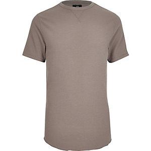 Hellbraunes Slim Fit T-Shirt mit Rundhalsausschnitt