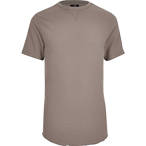 Light brown waffle crew neck slim fit T-shirt
