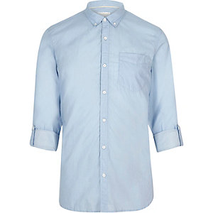 Light blue stripe print slim fit shirt