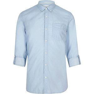 Lchtblauw gestreept slim-fit overhemd