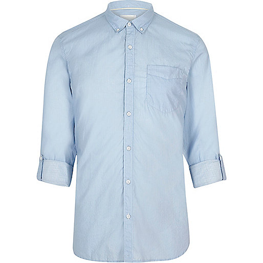Light blue stripe print slim fit shirt
