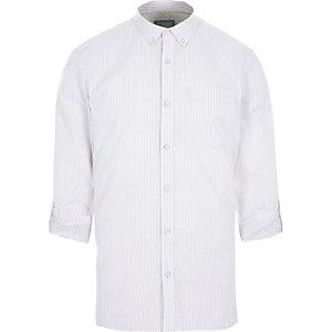 Chemise slim blanche rayée à manches longues