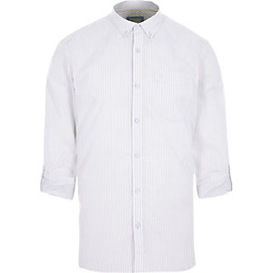 Wit gestreept slim-fit overhemd met lange mouwen en print