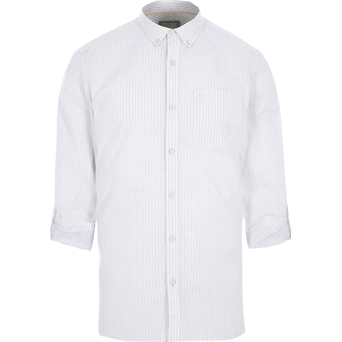 White stripe print long sleeve slim fit shirt
