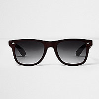 Brown wood effect retro square sunglasses