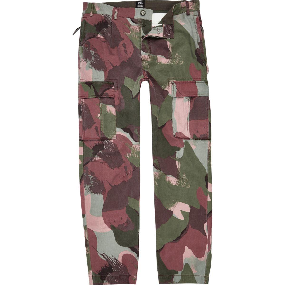 Khaki green Design Forum camo cargo trousers