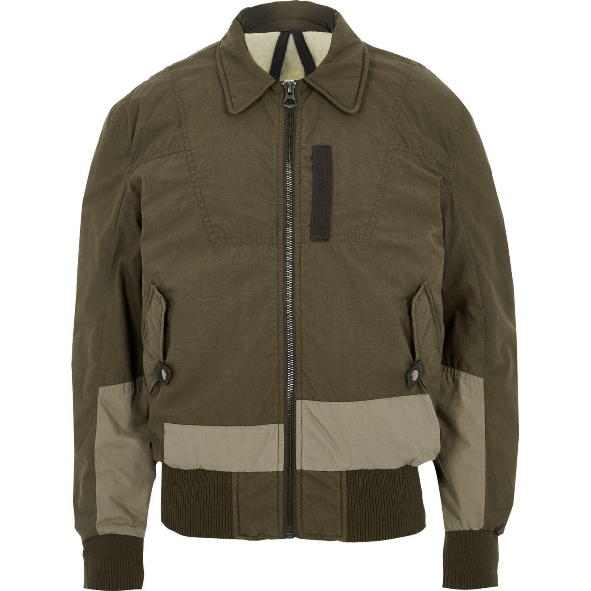 Dark Khaki Green Design Forum Aviator Jacket by River Island