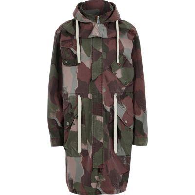River island khaki green parka coat jacket