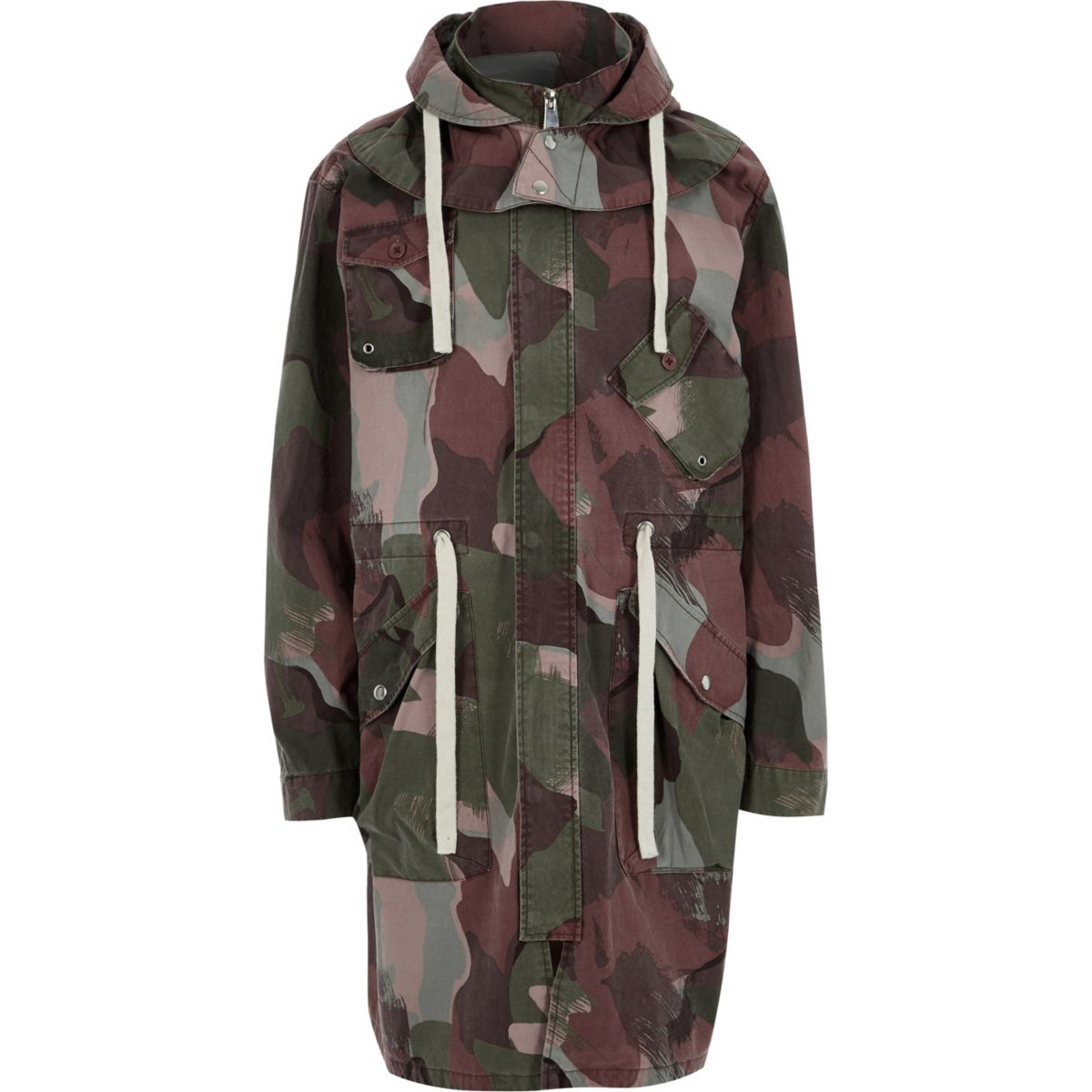 Khaki green Design Forum camo parka