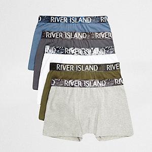 Multipack donkergroene strakke boxers met tailleband en bladerprint