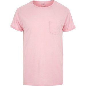 Pink rolled sleeve pocket T-shirt