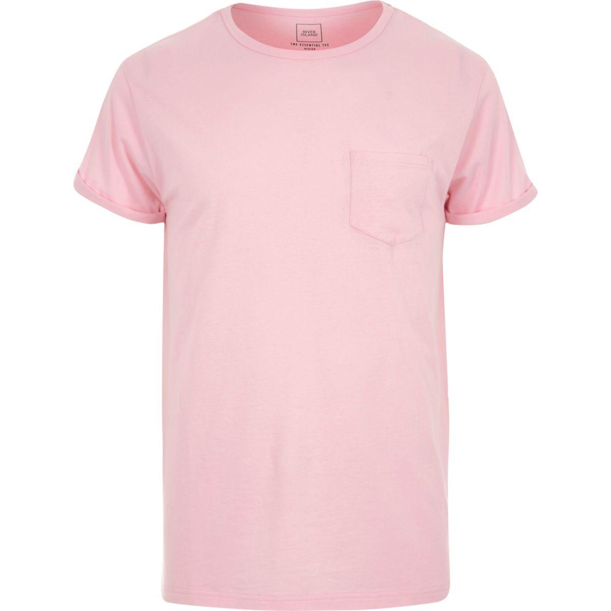 Pink rolled sleeve pocket T-shirt